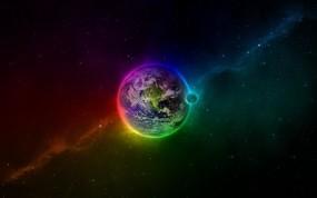 Обои Разноцветная земля: Цвета, Земля, Синий, Зелёный, Красный, Космос