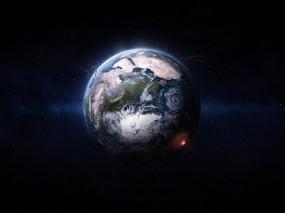 Обои Погибающая земля: Облака, Дым, Земля, Взрыв, Циклон, Космос