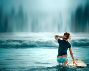 Обои Сёрферша: Вода, Попа, Волна, Сёрфер, Спорт