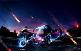 Обои Bmx: Машина, Неон, Человек, Небо, Велосипед, BMX, Молнии, Спорт