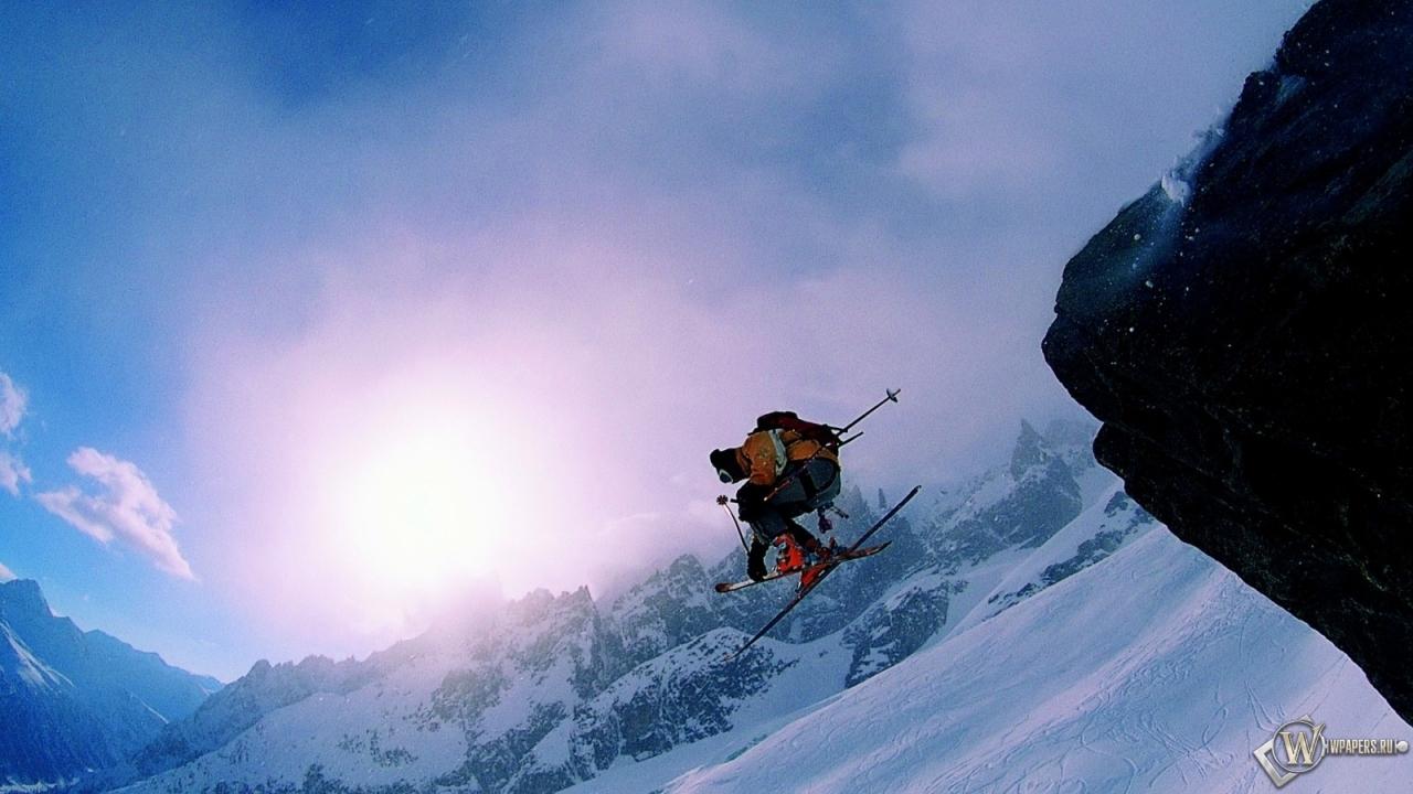 Обои на рабочий стол горные лыжи