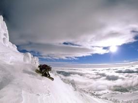 Обои Сноуборд: Облака, Горы, Снег, Солнце, Спорт, Сноуборд, Спорт