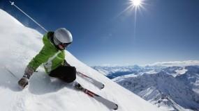 Обои Лыжник: Горы, Снег, Небо, Спорт, Спуск, Спорт