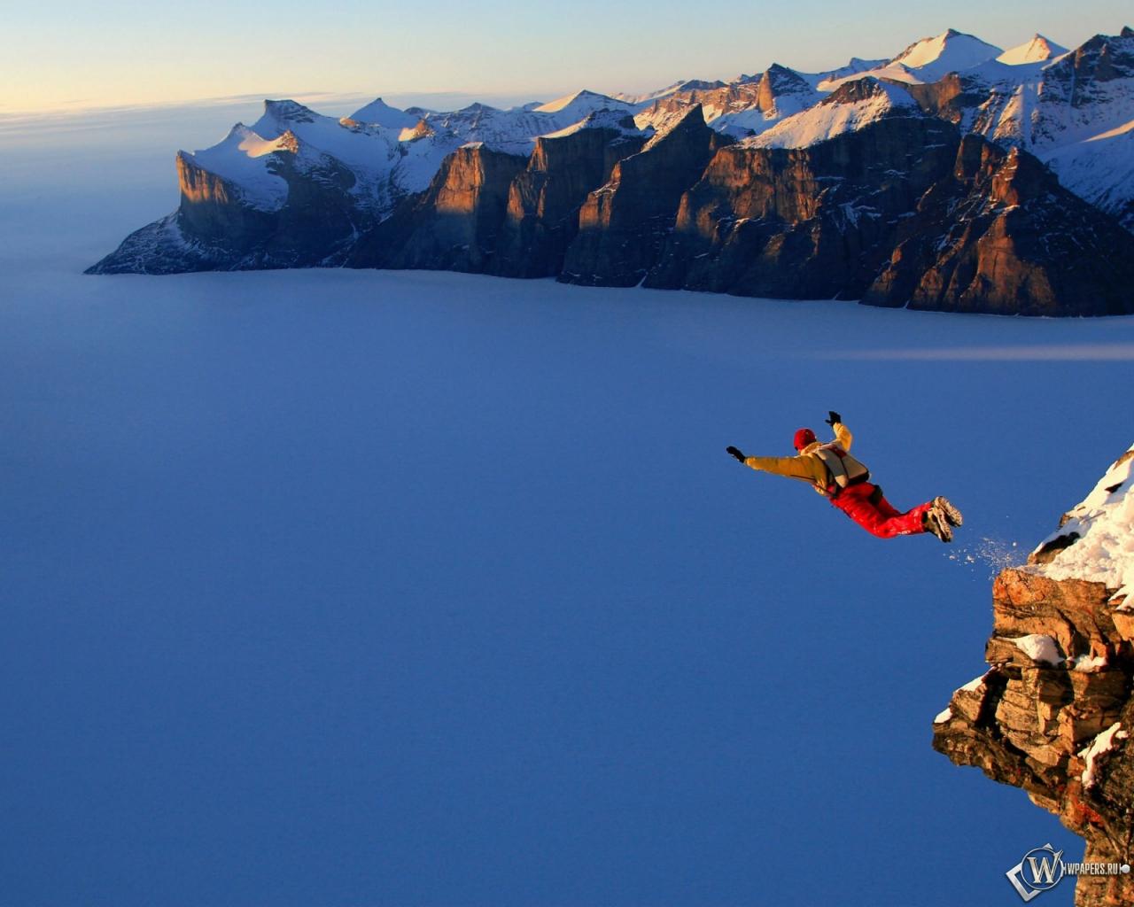 Обои экстрим горы снег прыжок 1280x1024