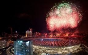 Обои Нск Олимпийский: Ночь, Салют, Стадион, Спорт
