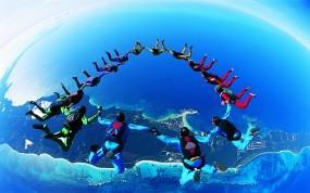Обои Прыжок с парашютом: Высота, Прыжок, Люди, Экстрим, Спорт