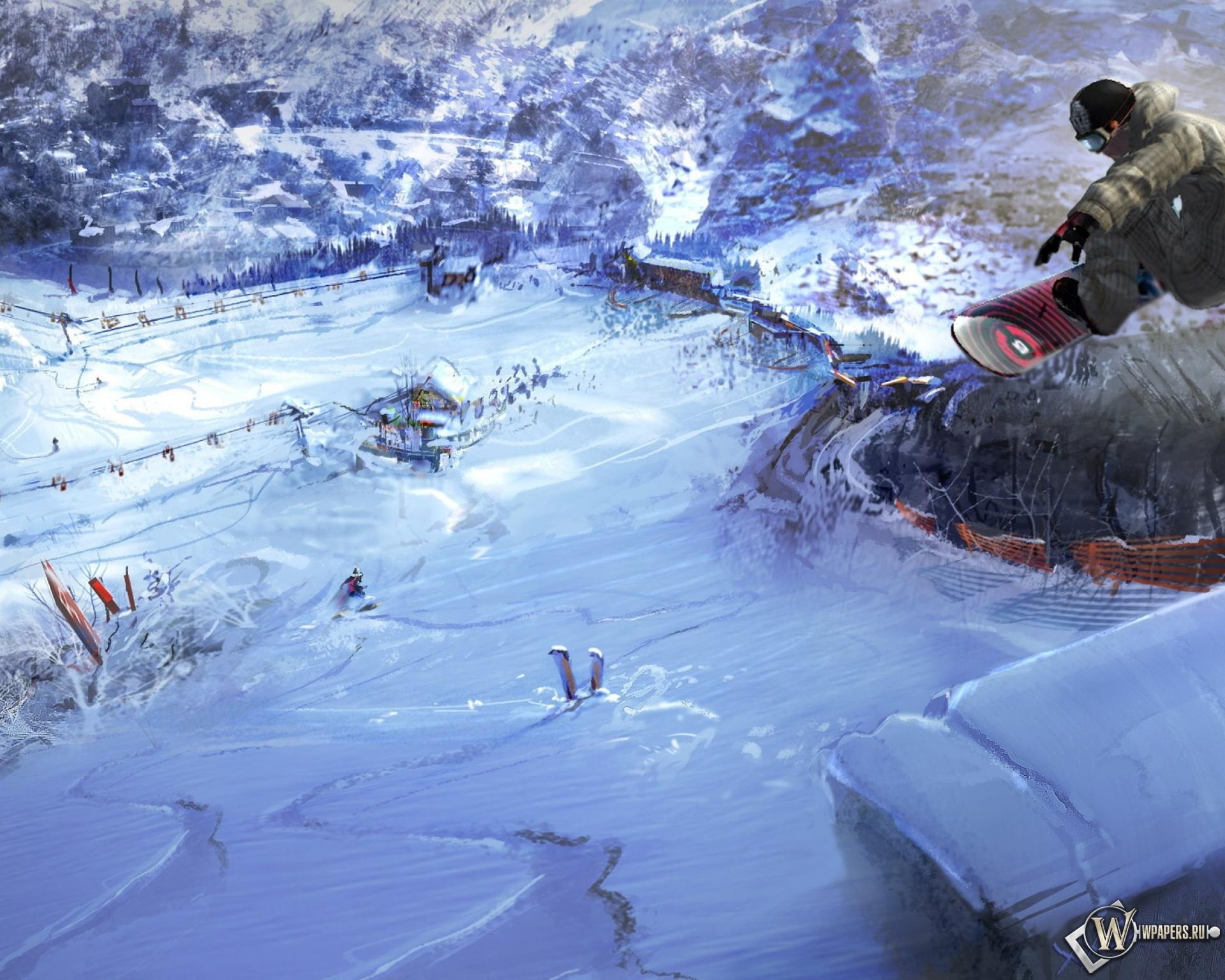 сноубордист прыжок горы  № 3300569  скачать