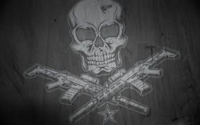 Обои Весёлый Роджер: Оружие, Череп, Автоматы, Оружие