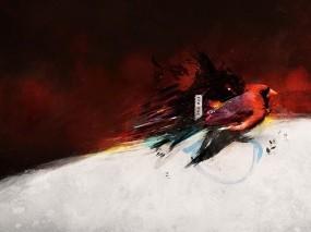Обои Bird draw: Птица, Минимализм, Обработка, Птицы