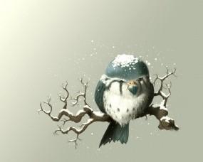 Обои Снегирь: Рисунок, Птица, Ветка, Снегирь, Птицы