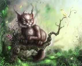 Обои Чеширский кот: Кот, Рисунок, Ветка, Кошки