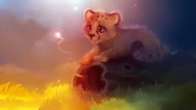 Обои Гепарденок  (Apofiss): Рисунок, Гепард, Котёнок, Бревно, Гепарды