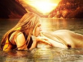 Обои Girl with a dolphin: Girl, Поцелуй, Дельфин, Water, Dolphin, Sun, Дельфины