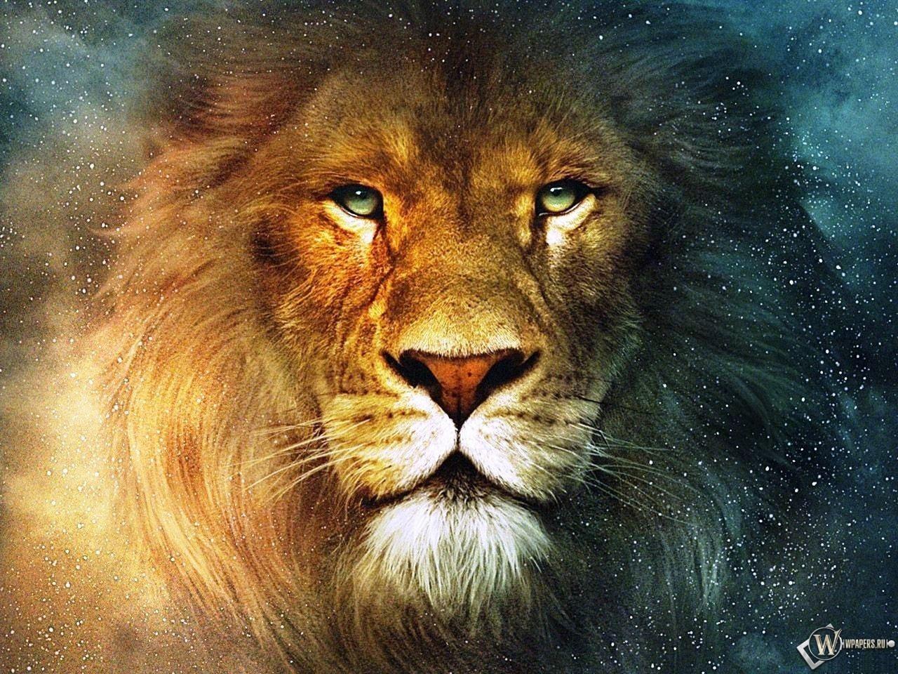 Рисованная морда Льва 1280x960