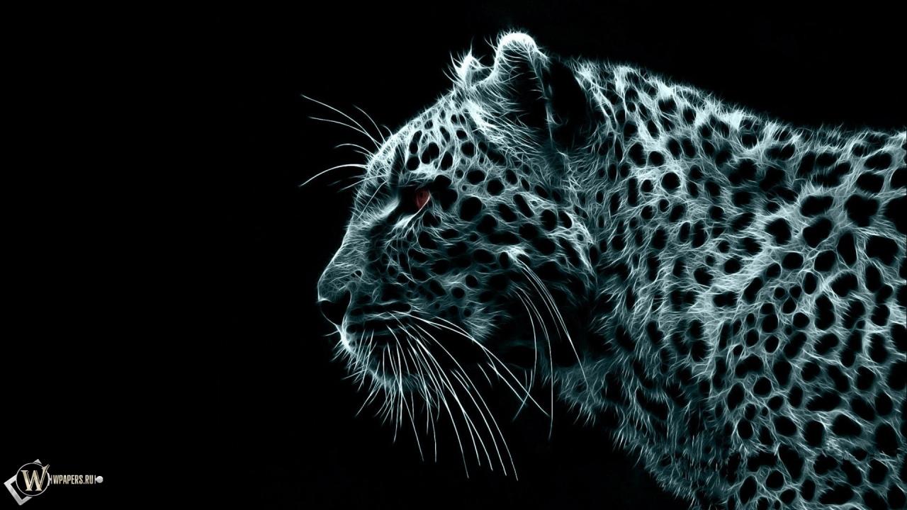Обои рисованный леопард на рабочий