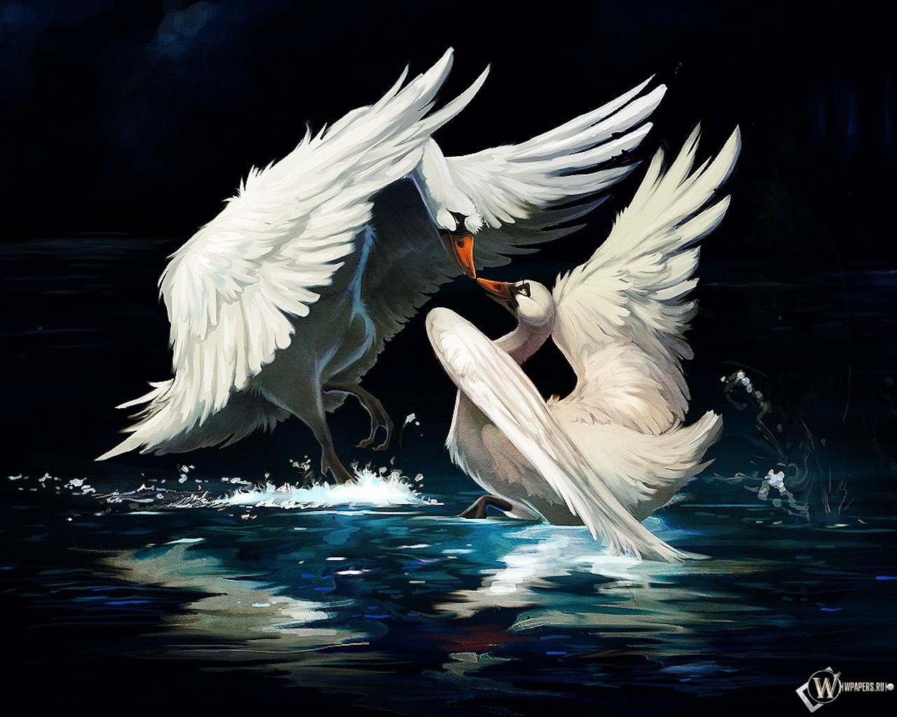 Нарисованные лебеди 1280x1024