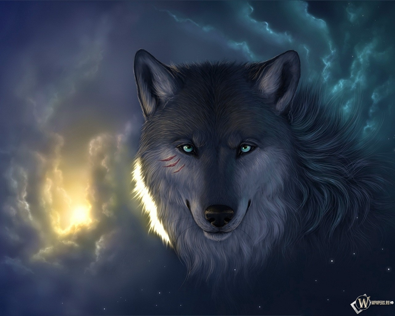 Мудрый волк 1280x1024