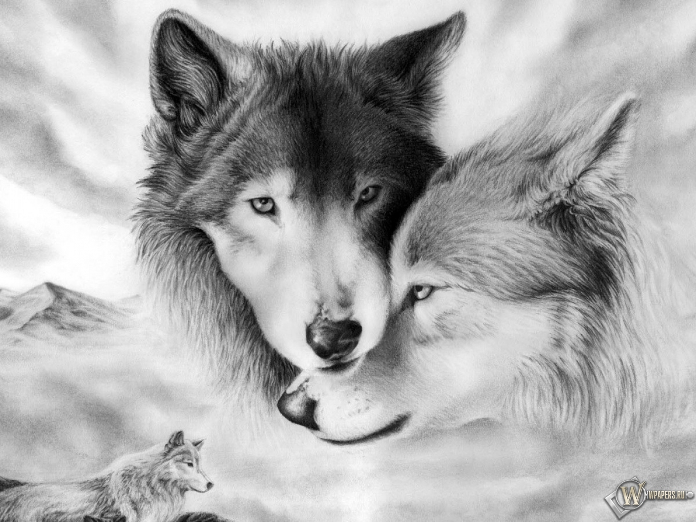 Обои волки рисунок волки стая связь
