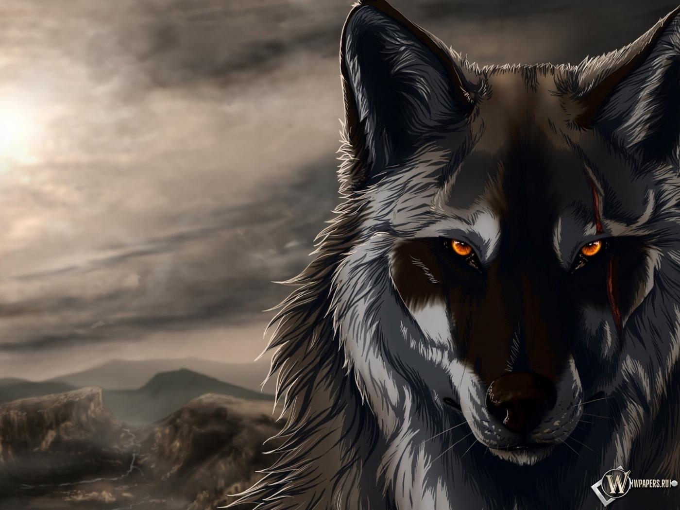 Обои волк ночь волк шрам 1400x1050