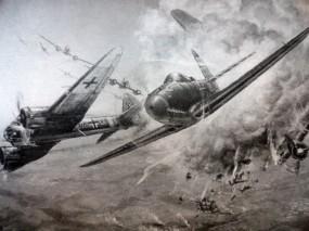 Обои Воздушный бой А.И.Покрышкина над Большим Токмаком : Junkers Ju, P-39, Airacobra, Ju-88, Авиация