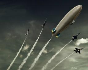 Обои Дирижабль с истребителями: Истребители, След, Дирижабль, Самолёты, Авиация