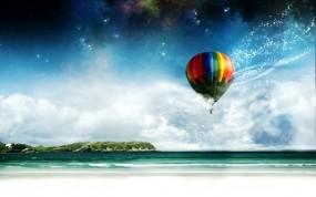 Обои Воздушный шар: Море, Берег, Воздушный шар, Авиация