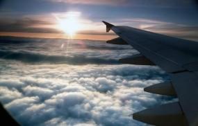 Обои Крыло самолёта: Облака, Солнце, Самолёт, Крыло, Самолеты