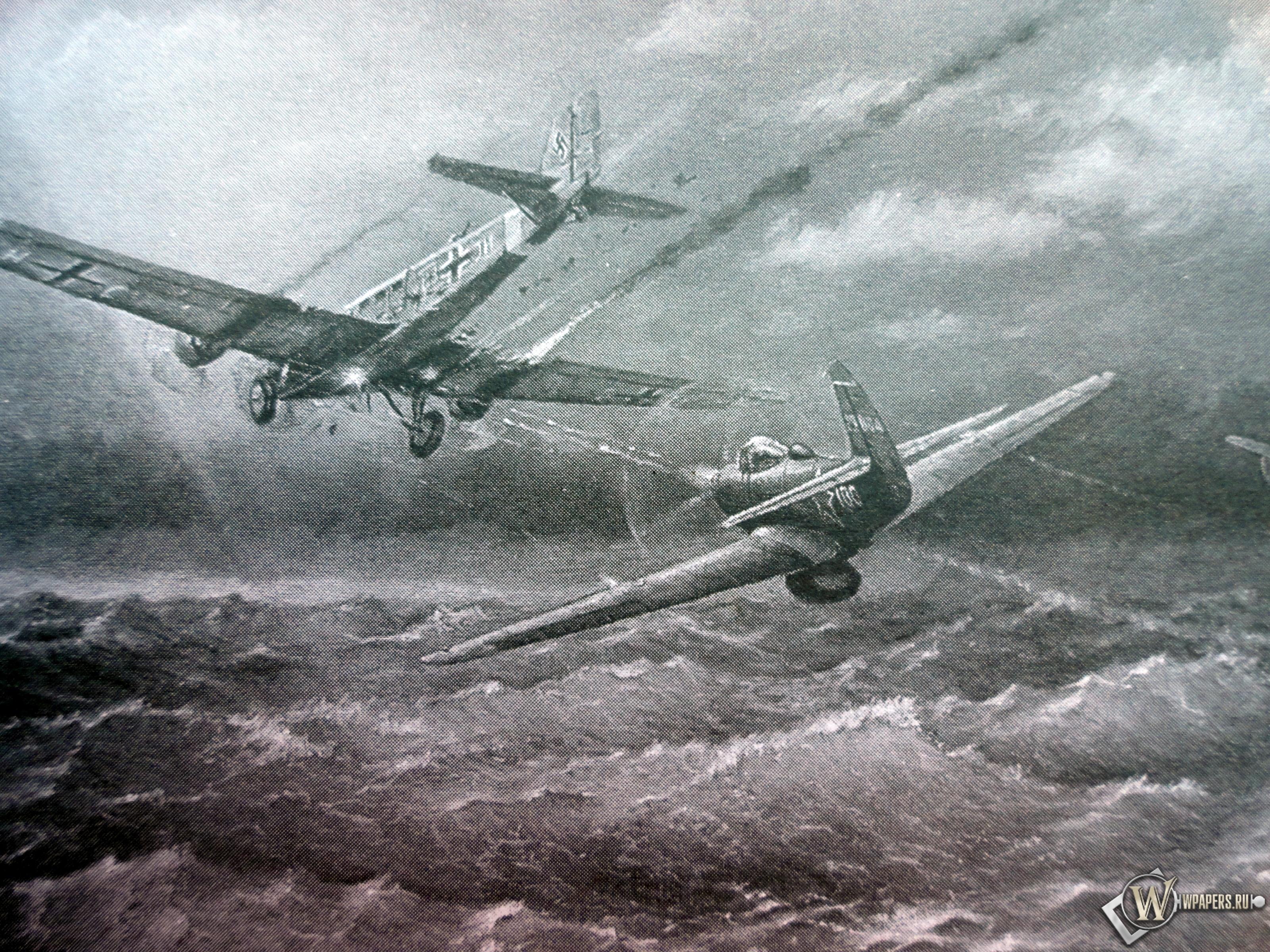P-39 Airacobra и Ju-52 3200x2400