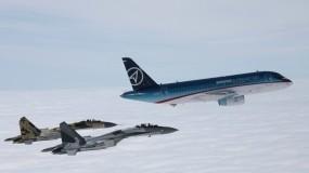 Обои Sukhoi Superjet 100: Истребители, Полёт, Самолёт, Sukhoi Superjet, Самолеты
