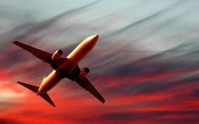 Обои Полет самолета на закате: Закат, Самолёт, Авиация, Самолеты