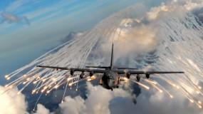 Обои Вспышки из самолета: Хеллфайр, Бомбардировщик, ИК-ловушки, АС-130, Самолеты