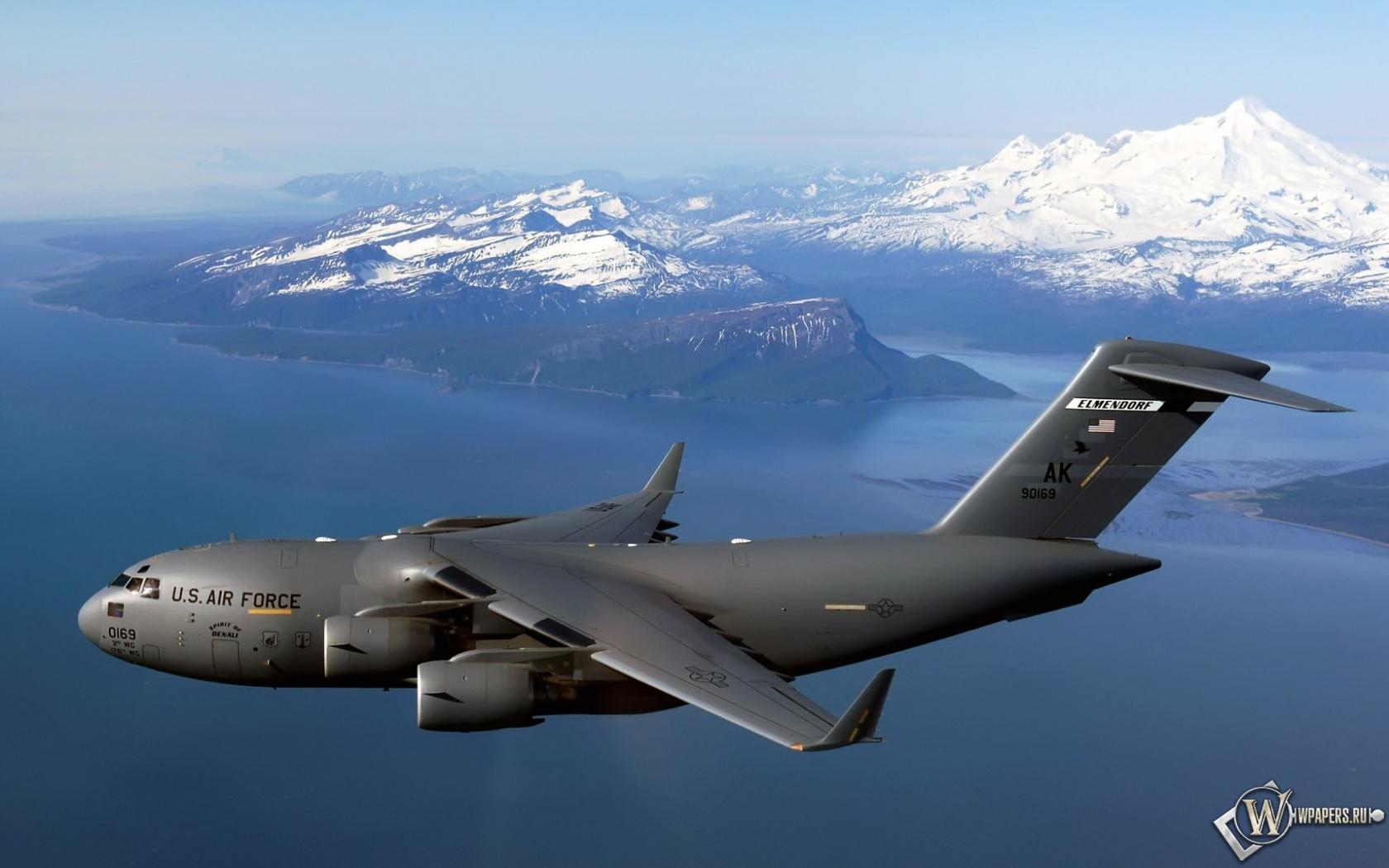 Обои военный самолет air force горы небо