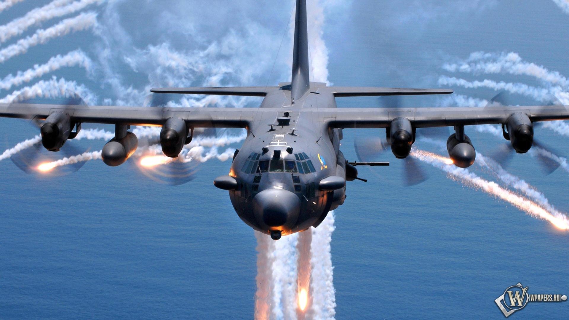 Обои lockheed ac 130 вода военные самолеты