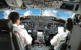 Обои Кабина самолёта: Облака, Небо, Самолёт, Кабина, Пилоты, Приборы, Самолеты