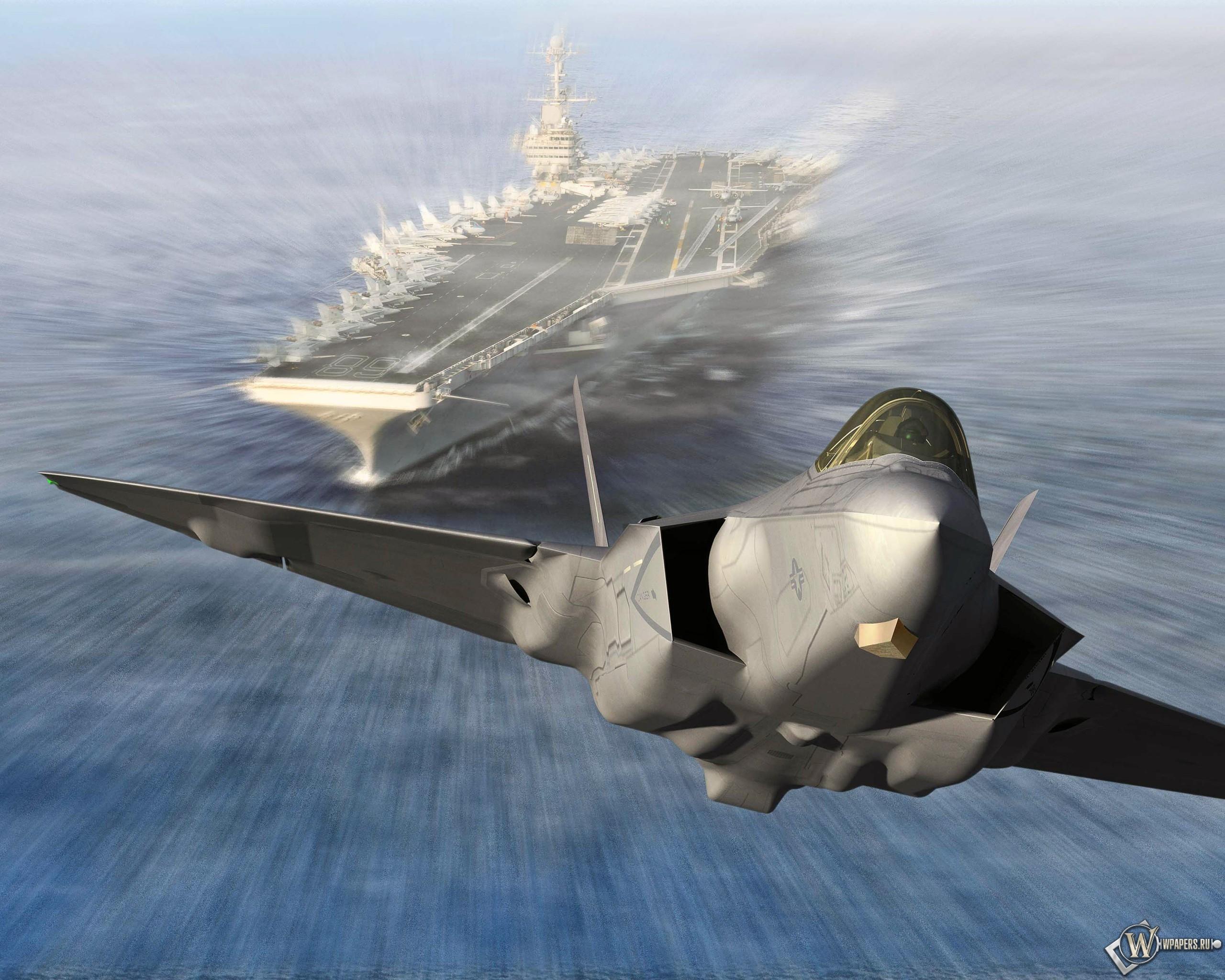 Запуск Lockheed Martin F-35C Lightning II из авианосца 2560x2048