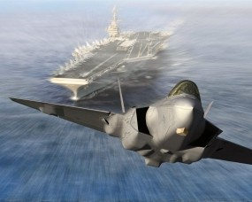 Обои Запуск Lockheed Martin F-35C Lightning II из авианосца: F-35, Lockheed Martin, Истребители