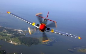 Обои North American P-51 Mustang: Истребитель, Небо, Авиация, mustang, Истребители