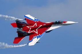 Обои МиГ-29: Самолёт, Звезда, Красный, МиГ-29, Истребители