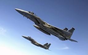 Обои F-15: Полёт, Истребитель, Небо, F-15, Истребители