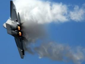 Обои F22 Raptor: Полёт, Истребитель, Военные самолеты, Небо, F-22, Воздух, Истребители