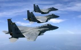 Обои Полет трех F15: Истребители, Полёт, F-15, Истребители