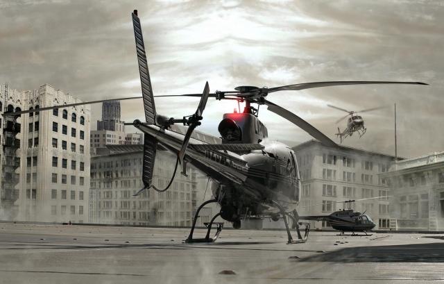 вертолеты на крыше