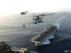 Обои Авианосец: Вертолеты, Авианосец, Прочая авиация