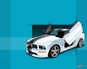 Обои Ford Mustang GT - двери ножницами: Ford Mustang GT, 3D Авто