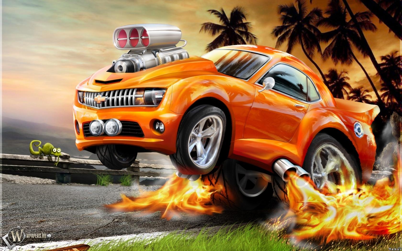 Обои огненный chevrolet огонь авто chevrolet