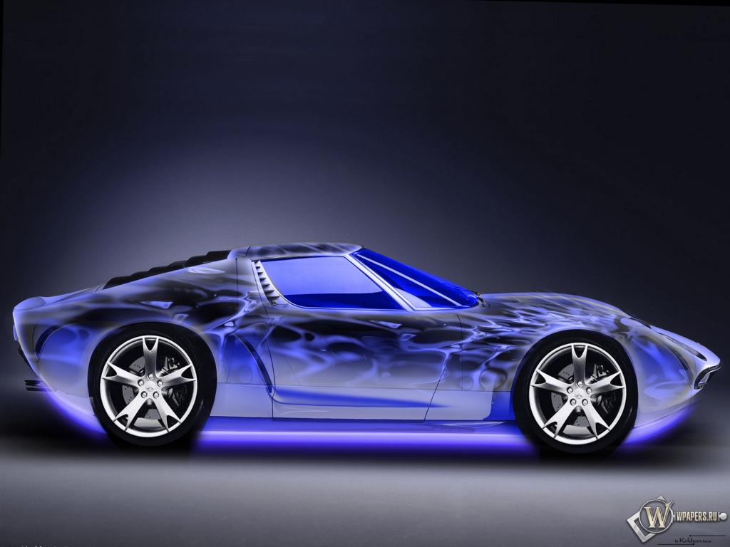 Авто неон синий тачка 1024x768 картинки
