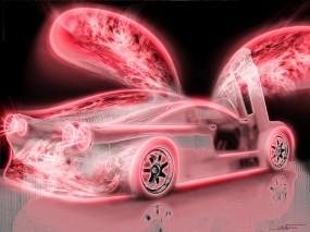 Неоновый Chevrolet Corvette