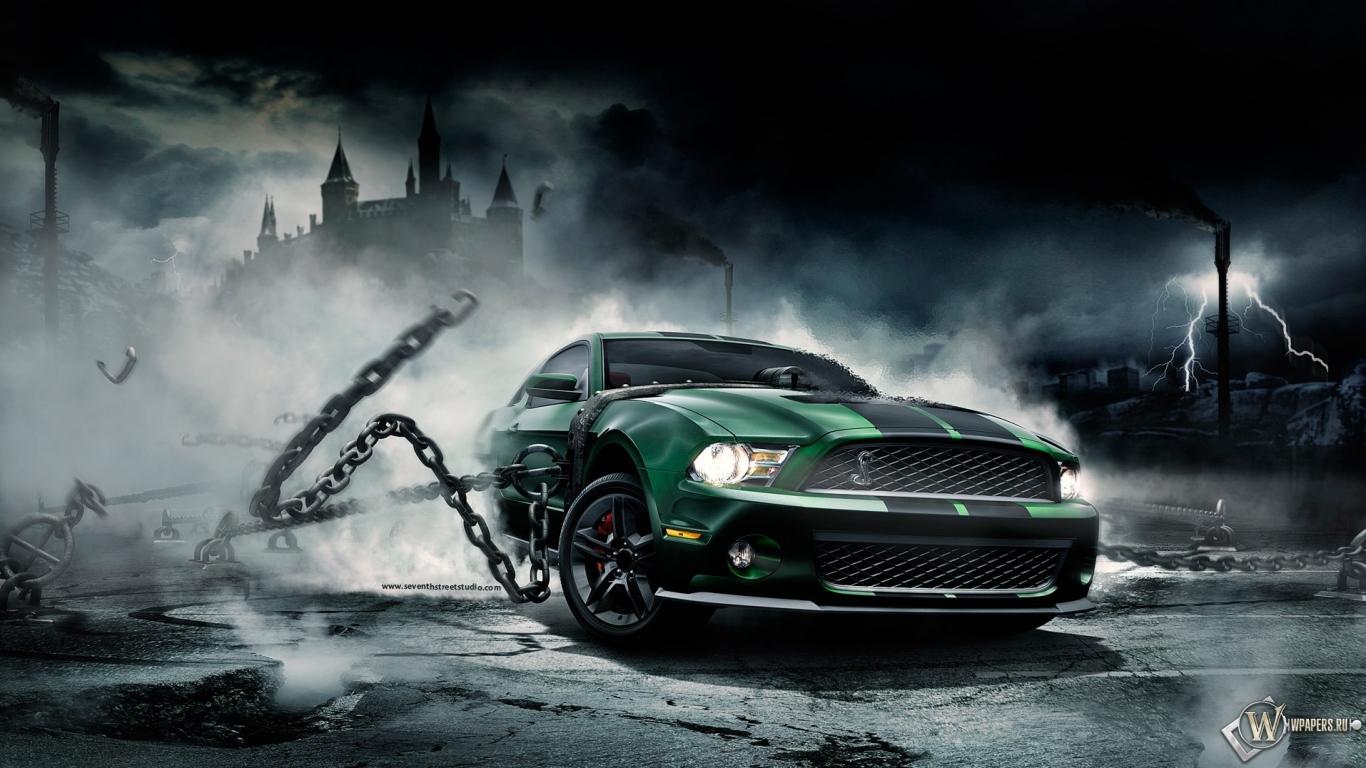 ... Цепи, Туман, Ford Mustang Shelby, 1366x768, картинки: wpapers.ru/wallpapers/avto/Ford/5642/1366-768_Mustang-Monster.html