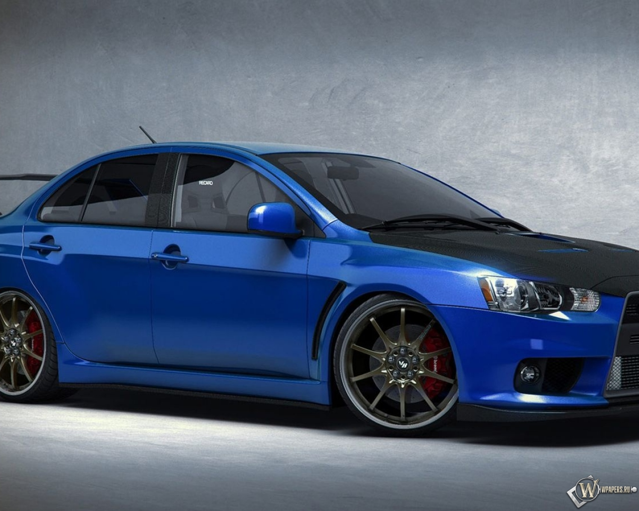 Скачать обои Синий Mitsubishi Lancer Evo Синий Mitsubishi Lancer Evolution для рабочего стола