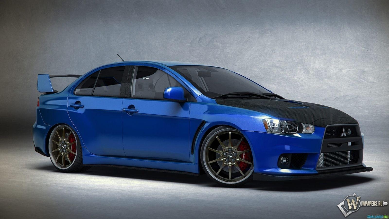 Скачать обои Синий Mitsubishi Lancer Evo Синий
